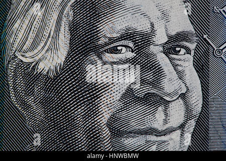 Portrait of David Unaipon closeup - Australian 50 dollar bill fragment - Stock Photo