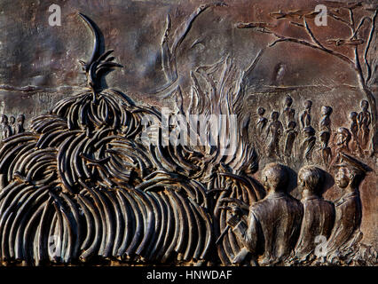 Detail, This monument which conmemorates the burning of 12 tons of ivory by H.E president Daniel T on July 18th - Stock Photo