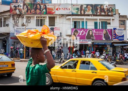 Pompidou avenue,street scene, downtown, Plateau quarter, Dakar, Senegal - Stock Photo
