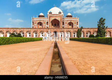 Delhi, India - 19 September, 2014:  Daytime view of Humayun's Tomb, UNESCO World Heritage on 19 September 2014, - Stock Photo