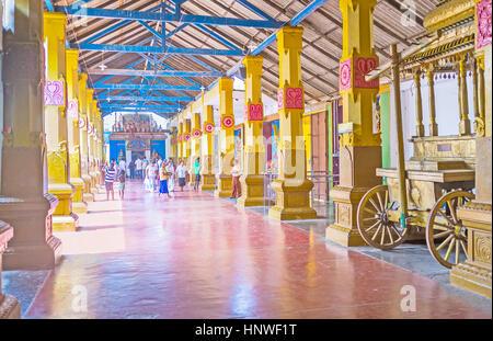 MUNNESWARAM, SRI LANKA - NOVEMBER 25, 2016: The Munneswaram Kovil consists of five temples, conected with shady - Stock Photo
