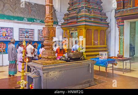 MUNNESWARAM, SRI LANKA - NOVEMBER 25, 2016: The worship at Shiva Temple of Munneswaram Kovil, on November 25 in - Stock Photo