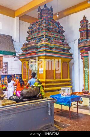 MUNNESWARAM, SRI LANKA - NOVEMBER 25, 2016: The colorful shrine in Shiva Temple of Munneswaram Kovil, decorated - Stock Photo