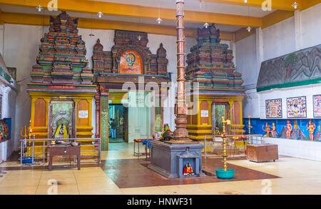MUNNESWARAM, SRI LANKA - NOVEMBER 25, 2016: The shrines in Shiva Temple of Munneswaram Kovil, on November 25 in - Stock Photo