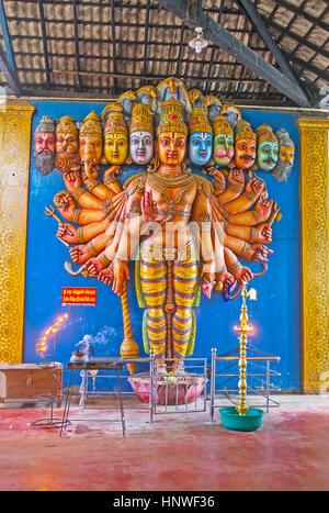 MUNNESWARAM, SRI LANKA - NOVEMBER 25, 2016: The sculpture of Vishnu Dashavatara with his ten avatars - heads of - Stock Photo