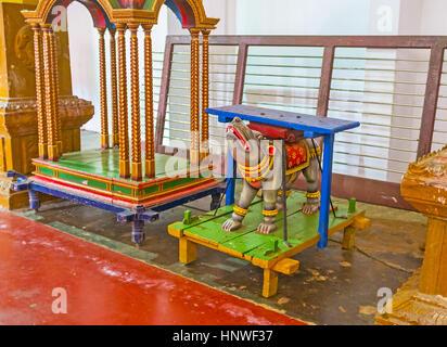 MUNNESWARAM, SRI LANKA - NOVEMBER 25, 2016: The sculpture of the Sacred Rat Krauncha (vehicle of Lord Ganesha) is - Stock Photo