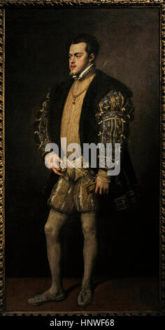 Philip II (1527-1598). King of Spain. Portrait by italian painter Titian (1489/1490-1576), 1553-1554. Farnese Collection. - Stock Photo