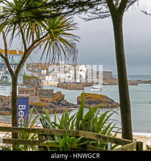 A view towards St. Ives from Carbis Bay, Cornwall, England, UK - Stock Photo