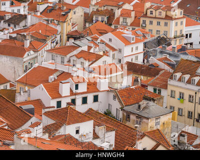 LISBON, PORTUGAL - JANUARY 10, 2017: Cityscape of Lisbon, Portugal, seen from Portas do Sol. - Stock Photo