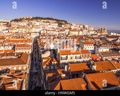 LISBON, PORTUGAL - JANUARY 10, 2017: Cityscape of Lisbon as seen from Miradouro do Elevador de Santa Justa (view - Stock Photo