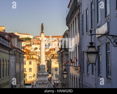LISBON, PORTUGAL - JANUARY 10, 2017: Column of Pedro IV on Rossio Square (Pedro IV Square) in Lisbon, Portugal, - Stock Photo