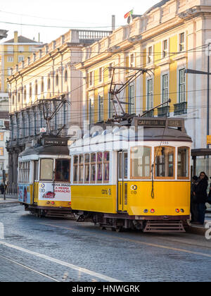 LISBON, PORTUGAL - JANUARY 10, 2017: Old trams on the Praca do Comercio (Commerce Square) in Lisbon, Portugal. - Stock Photo