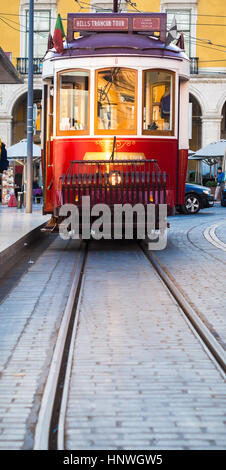 LISBON, PORTUGAL - JANUARY 10, 2017: Old tram on the Praca do Comercio (Commerce Square) in Lisbon, Portugal. - Stock Photo