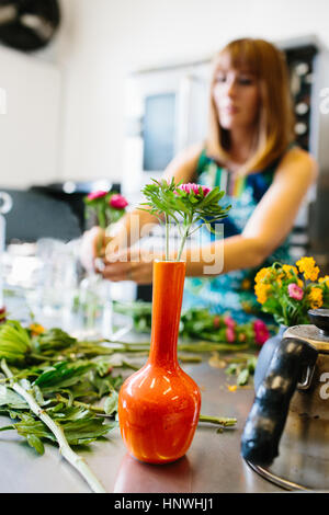 Woman arranging flowers in vase - Stock Photo