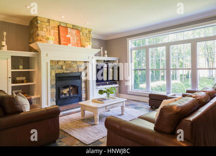 ... Brown Leather Sofa, Sitting Chairs And Natural Stone Fireplace In The Living  Room Inside A