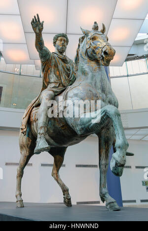 Rome. Italy. Bronze equestrian statue (161-180 AD) of Roman Emperor Marcus Aurelius (121-180 AD), Capitoline Museum. - Stock Photo
