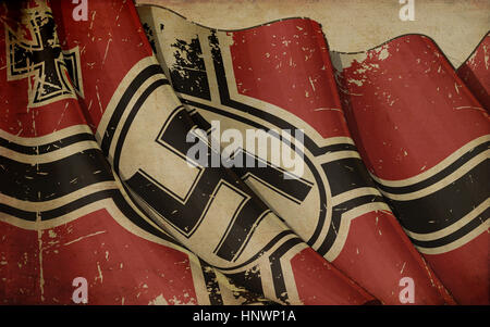 Editorial Illustration of a rusty German War Ensign 1938-1945 Old Paper printed on old paper - Stock Photo