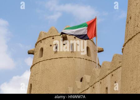 Al Jahili Fort, Al Ain, United Arab Emirates.  Former home of the Al Nahyan ruling family of the Abu Dhabi Emirate - Stock Photo