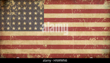 Illustration of a flat 'n aged US 48 star flag of the period 1912-1959. This design was used by the US in both World - Stock Photo