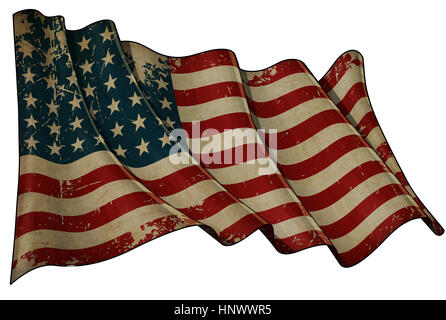Illustration of an aged, waving US 48 star flag of the period 1912-1959. This design was used by the US in both - Stock Photo