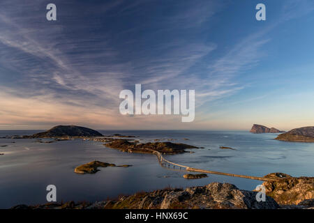 View of famous Sommaroy Bridge crossing from Kvaloya Island to Sommaroy Island in autumn, Arctic Norway - Stock Photo