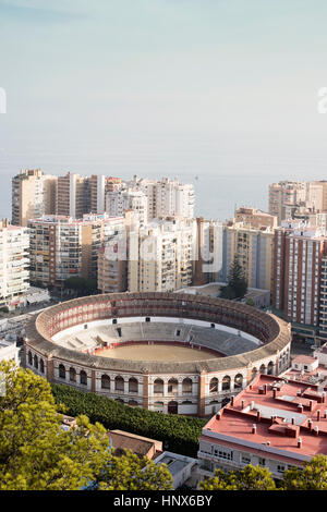 Elevated view of Plaza de toros de La Malagueta, Malaga, Spain - Stock Photo
