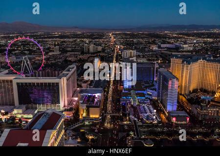 The Strip at night, Las Vegas, Nevada, USA - Stock Photo