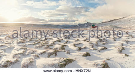 Snow-covered landscape, Skalafell, Iceland - Stock Photo