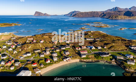 Aerial view of Sommaroy Island in autumn, Arctic Norway - Stock Photo