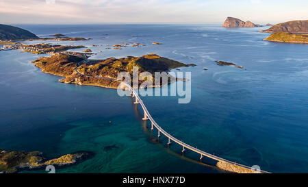 Aerial view of famous Sommaroy Bridge crossing from Kvaloya Island to Sommaroy Island in autumn, Arctic Norway - Stock Photo