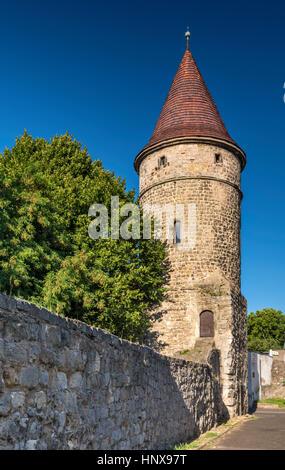 Baszta Boleslawiecka (Boleslawiec Tower), 13th century, in Lwowek Slaski, Lower Silesia, Poland - Stock Photo