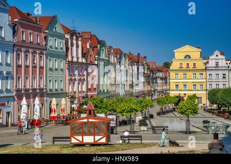 Historic multi-family buildings at Rynek (Market Square) in Boleslawiec, Lower Silesia, Poland - Stock Photo