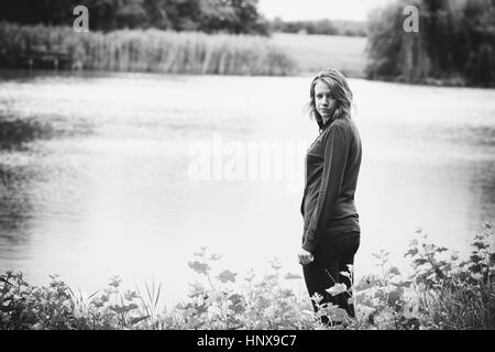 Sad depressed teen girl concept - Stock Photo