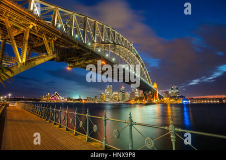 Sydney. Cityscape image of Sydney, Australia with Harbour Bridge during twilight blue hour. - Stock Photo