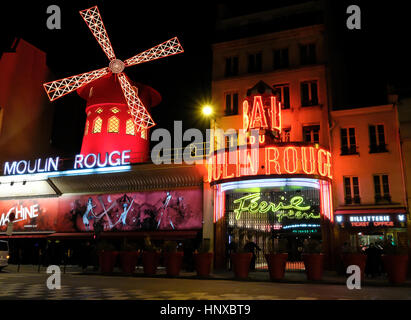 Moulin Rouge, French for Red Mill, is a cabaret club in the Pigalle area of Paris, France - Stock Photo