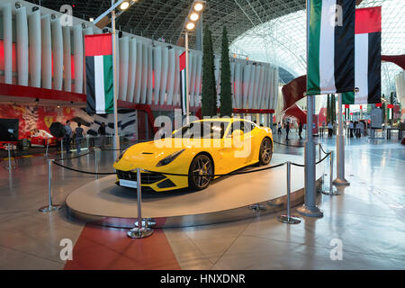 ABU DHABI, UNITED ARAB EMIRATES - DECEMBER 5, 2016: Ferrari World at Yas Island in Abu Dhabi, UAE. - Stock Photo