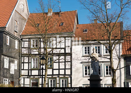 HATTINGEN, GERMANY - FEBRUARY 15, 2017: Half-timbered houses in historic down town are up to four stories high - Stock Photo