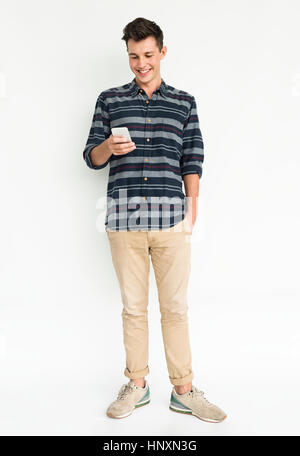 Man Smiling Happiness Moblie Phone Communication Technology - Stock Photo