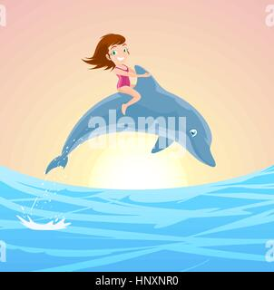 Little Girl Riding on the Jumping Dolphin's Back, with brunette little girl with pink swimming suit and lovely blue - Stock Photo