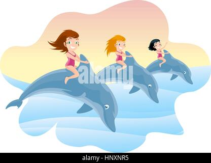 Three Little Girls Riding on the Jumping Dolphin's Back, with brunette and blonde little girls with pink swimming - Stock Photo