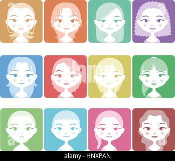 Head and Shoulder Avatar Girl People Set in Colors, with twelve different girls with different haircuts and colors - Stock Photo