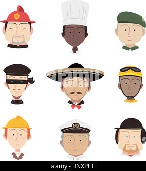 Head and Shoulder Professional People Profile avatar, with fireman, chef, military man, captain, cyclist, fire fighter, - Stock Photo