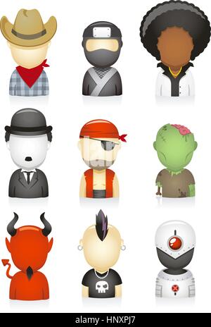 set of head and shoulders avatar people multi-ethnic style, with zombie, pirate, Charles Chaplin, Afro, ninja, cowboy, - Stock Photo