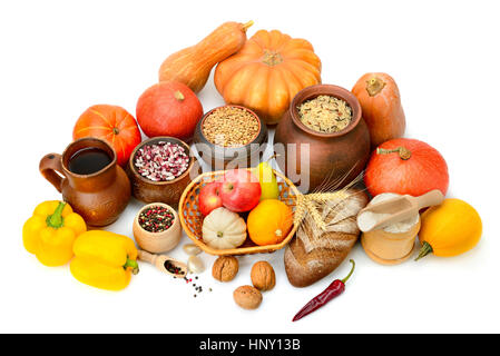 Collection of food isolated white - Stock Photo