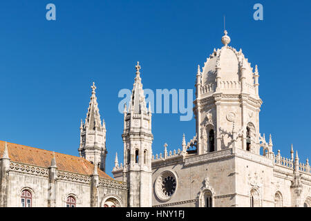 Mosteiro dos Jeronimos or the church of the Jerónimos Monastery, Belém, Lisbon, Portugal - Stock Photo