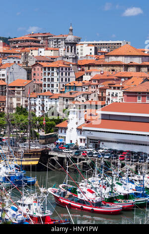 Lekeitio fishing port town in Biscay with the church of Santa María, a gothic basilica, Basque Country, Spain - Stock Photo