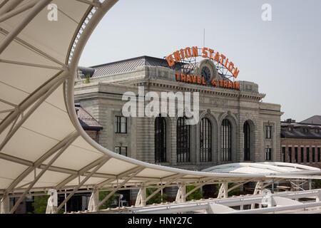 Denver, Colorado, USA-June 11, 2016. Renovated Union Station in Downtown Denver, Colorado. - Stock Photo