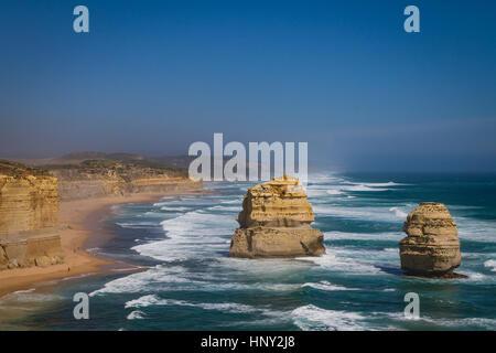 Limestone Rock formations along the Great Ocean Road in Australia - Stock Photo