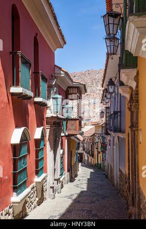 Calle Apolinar Jaen, La Paz, Bolivia - Stock Photo