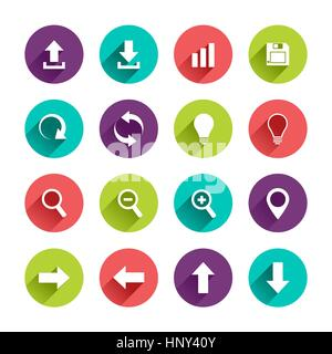 Vector Application  Web Icons Set in Flat Design with Long Shadows on circle buttons with upload download arrows - Stock Photo
